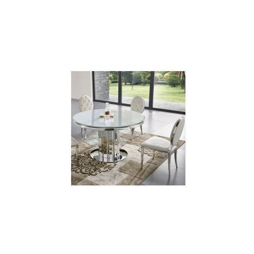 Stół glamour Retford II okrągły - stal blat szklany (5908273398174)