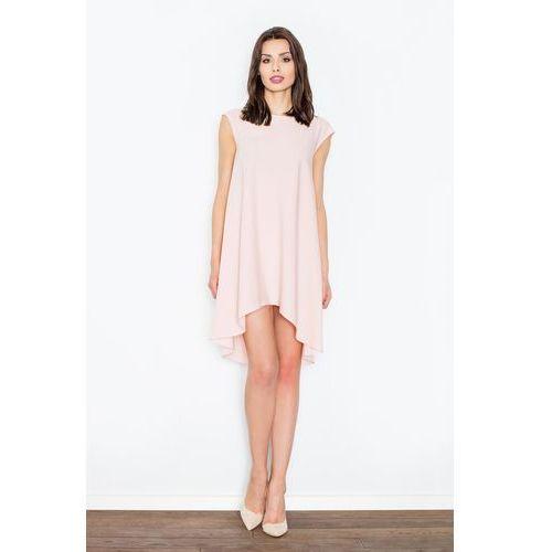 Jasno różowa Rozkloszowana Asymetryczna Sukienka z Półrękawkiem, FM450lpi