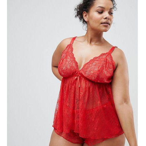 Asos design curve luna lace cami & short set - red marki Asos curve