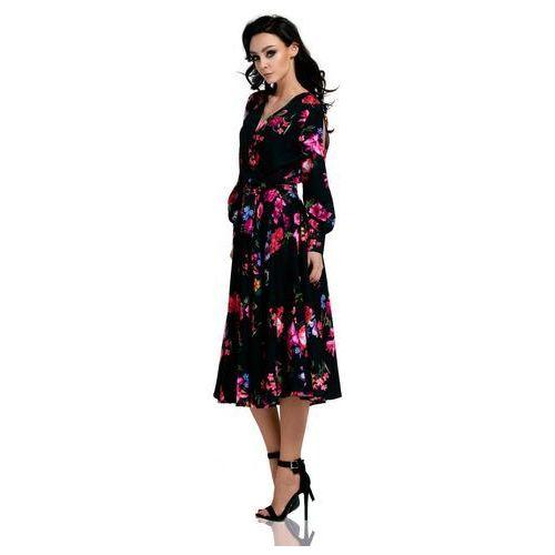 dc452d883 Lemoniade Czarna rozkloszowana sukienka z rozciętymi rękawami w kwiaty  199,90 zł Material: poliester 95% elastan 5%.Dostepne rozmiary: S (36), M  (38), ...