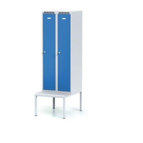 Szafka ubraniowa obniżona z ławką, drzwi niebieske, zamek cylindryczny marki Alfa 3
