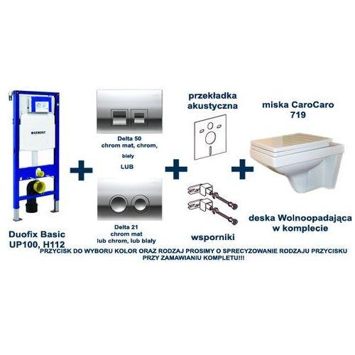 Zestaw podtynkowy WC stelaż GEBERIT DUOFIX BASIC (kpl. wsporniki + mata) + przycisk DELTA 21/DELTA 50 (chrom-połysk, chrom-mat, biały) - KOLOR/RODZAJ do wyboru + miska 719 deska woloopadająca - produkt z kategorii- Stelaże i zestawy podtynkowe