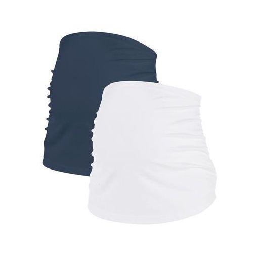 Pas ciążowy na brzuch (2 szt.) ciemnoniebieski + biały marki Bonprix