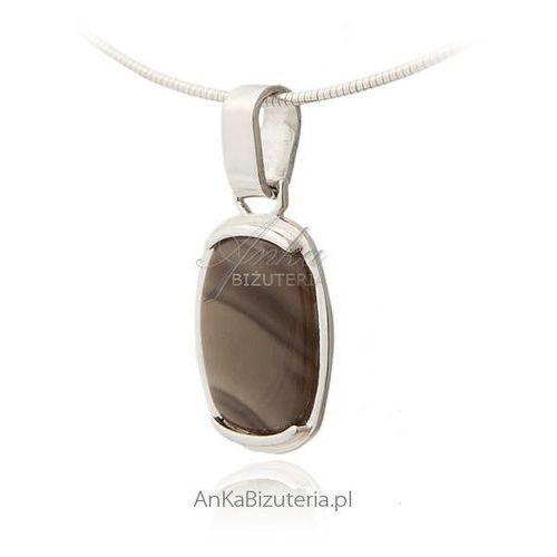 Anka biżuteria Wisiorek srebrny krzemień pasiasty, szara