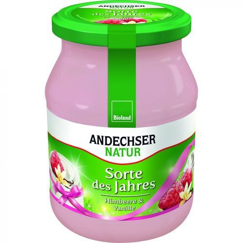 Jogurt malina wanilia 3,7% bio 500 g natur marki Andechser