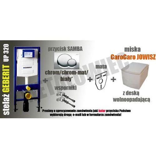 Produkt z kategorii- stelaże i zestawy podtynkowe - Zestaw podtynkowy WC stelaż GEBERIT DUOFIX H112 (kpl. wsporniki + mata) + przycisk SAMBA (chrom-połysk, chrom-mat, biały) - do wyboru + miska CaroCaro JOWISZ 2390 z deską wolnoopadającą