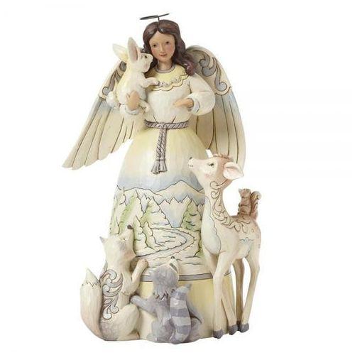 Biały anioł z zwierzętami peace to all (white woodland angel with animals) 4041084 artysta figurka ozdoba świąteczna marki Jim shore