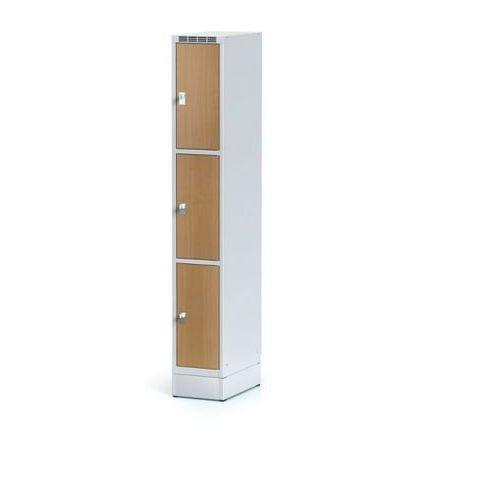 Alfa 3 Szafka ubraniowa 3 drzwi 300x300 mm na cokole, drzwi lpw, buk, zamek cylindryczny