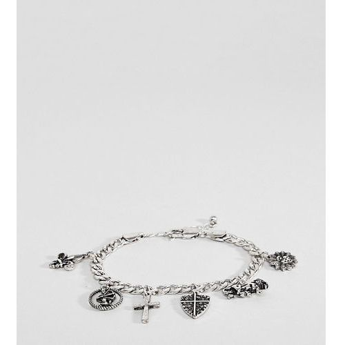 Reclaimed Vintage Inspired PLUS Silver Charm Bracelet Exclusive To ASOS - Silver, kolor szary
