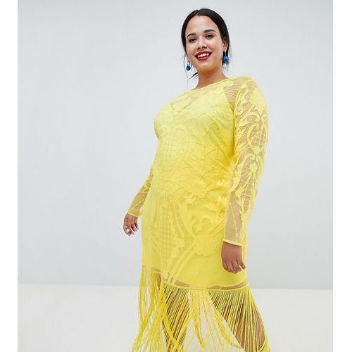 ASOS DESIGN Curve embroidered fringe maxi - Yellow