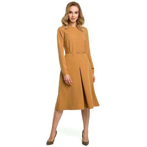 cf49353e6c Cynamonowa Elegancka Sukienka do Pracy za Kolano z Paskiem 139