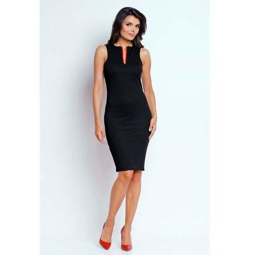 e9ffac886c Nommo Czarna ołówkowa letnia sukienka z kontrastowym zamkiem 114