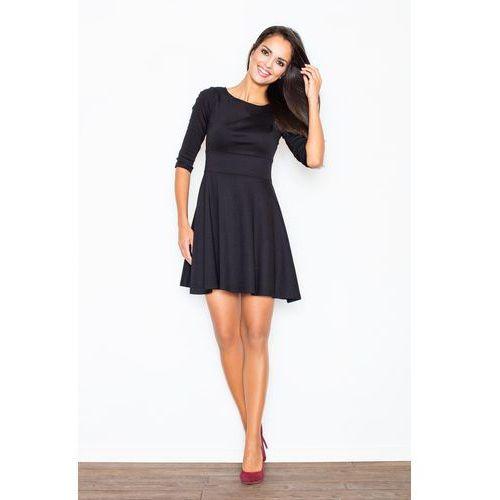 Czarna Elegancka Sukienka z Rozkloszowanym Dołem, FM081bl