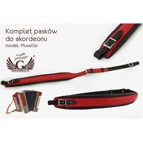 KOMPLET PASKÓW DO AKORDEONU czerwono-czarne - model Musette - wersja Komfort - PDA001