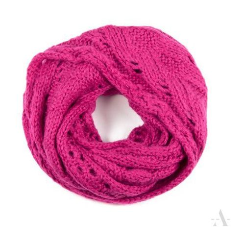 Elegancki szalik damski komin z ażurowym wzorem ciemny róż - różowy