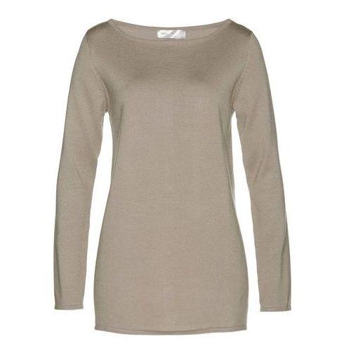 Sweter z dekoltem w serek z kaszmirem bonprix beżowo-szary