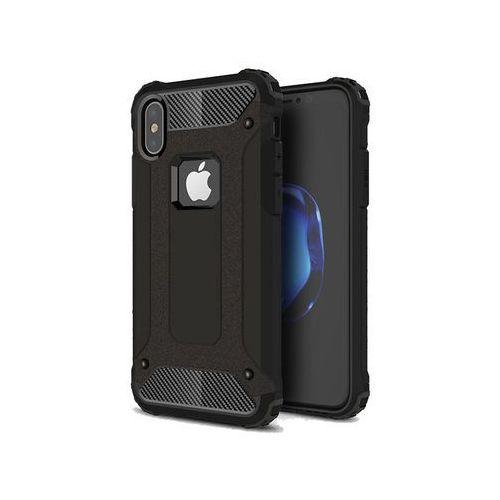 Etui Pancerne Alogy Apple iPhone X Hard Armor Czarne + Szkło - Czarny