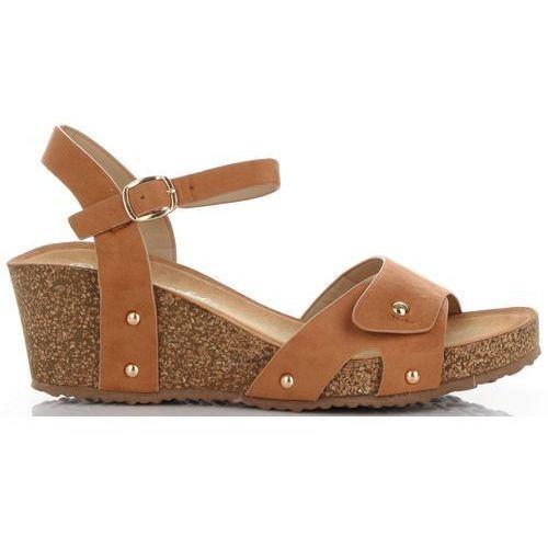 Sandały damskie na koturnie renomowanej marki rude (kolory) marki Lady glory