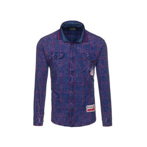 51e3aabd21d5aa Koszula męska w kratę z długim rękawem granatowo-czerwona denley 2506 marki  Northist 69,99 zł Casualowe, granatowo-czerwone koszule w kratę od Denley.