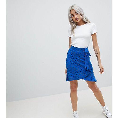 ASOS PETITE Mini Wrap Skirt in Polka Dot Print - Blue, kolor niebieski