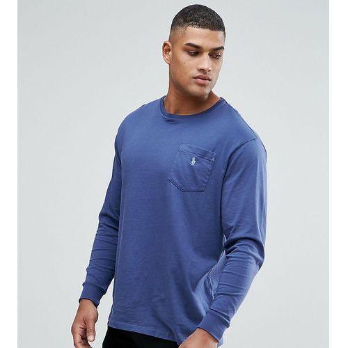 Polo Ralph Lauren Big & Tall Long Sleeve Pocket T-Shirt with Logo in Blue - Blue