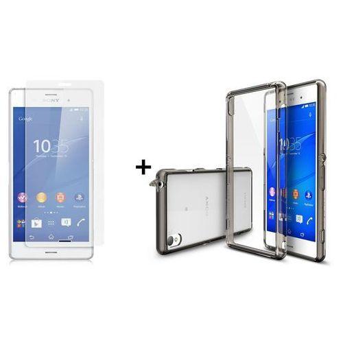 Rearth / perfect glass Zestaw rearth | obudowa | etui ringke fusion case + szkło ochronne | sony xperia z3 | kolor smoke black