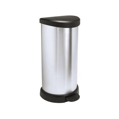Kosz na śmieci metalizowany 40L z pedałem czarny/srebrny metalizowany 181125 Curver (kosz na śmieci)