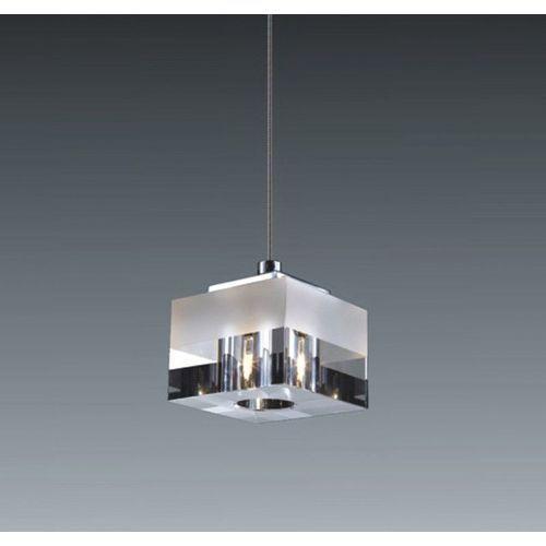 Italux Lampa wisząca cubric md9216-1a szklana oprawa halogenowa zwis kostka cube box biała przezroczysta