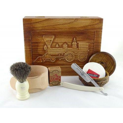 Margo Retro parowóz ii 7-elementowy zestaw do golenia brzytwą w drewnianym pudełku