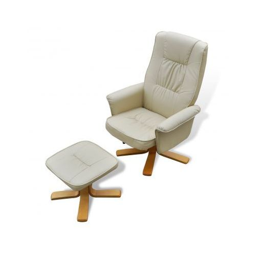 Odchylany fotel TV ze sztucznej skóry kremowo biały z podnóżkiem, vidaXL
