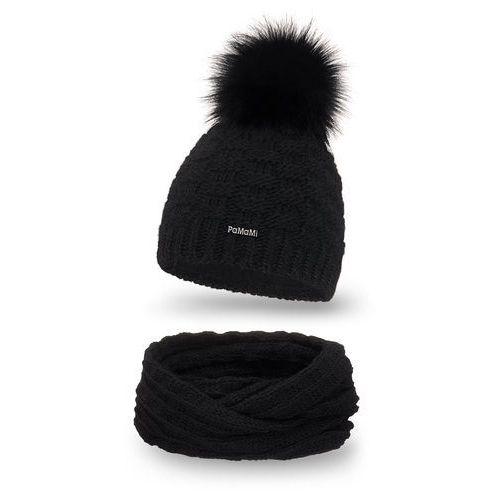Komplet , czapka i komin - czarny - czarny marki Pamami