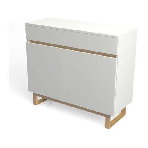 Komoda biała z szufladami deskom3/2 w stylu skandynawskim marki Womeb