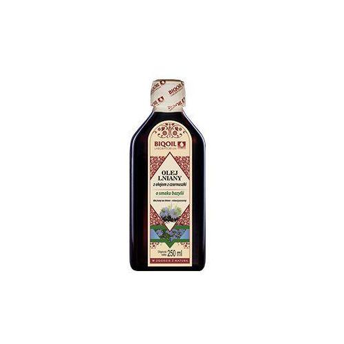 Olej lniany z olejem z czarnuszki o smaku bazylii tłoczony na zimno OmegaLen® 250 ml