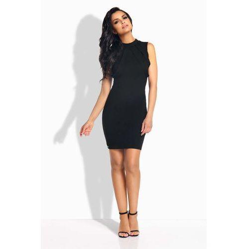 Czarna Sukienka Ołówkowa Mini z Ozdobnymi Paskami, kolor czarny
