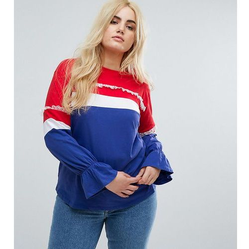 t-shirt with contrast panelling and pretty detail - multi, Asos curve
