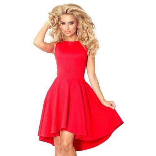 f5e79a2ddc 66-12 Ekskluzywna sukienka z dłuższym tyłem - CZERWONA M 159