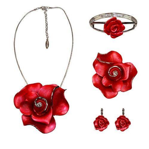 Polska Zestaw biżuterii z czerwoną różą: naszyjnik, bransoletka, kolczyki i broszka