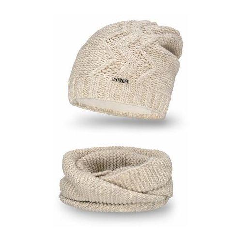 Komplet , czapka i komin - beżowy - beżowy marki Pamami