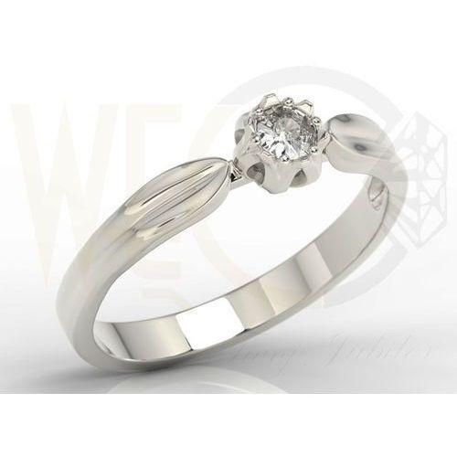 Pierścionek w kształcie konwalii AP-4016B z białego złota z brylantem. - 0.16 ct, marki WĘC - Twój Jubiler do zakupu w POLDECK