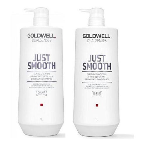 Goldwell DS Just Smooth | Zestaw do włosów niesfornych: szampon 1000ml + odżywka 1000ml (9753197531830)