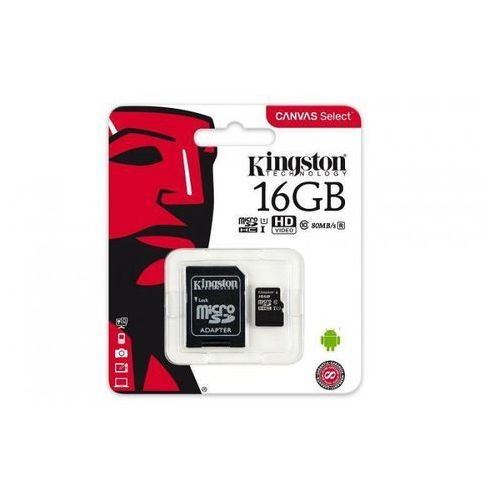 Kingston Karta pamięci Kingston microSDHC Canvas Select 16GB UHS-I Class 10 + adapter