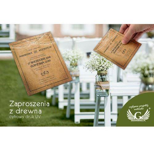 Grawernia.pl - grawerowanie i wycinanie laserem Zaproszenia ślubne z drewna - cyfrowy druk uv - zap022
