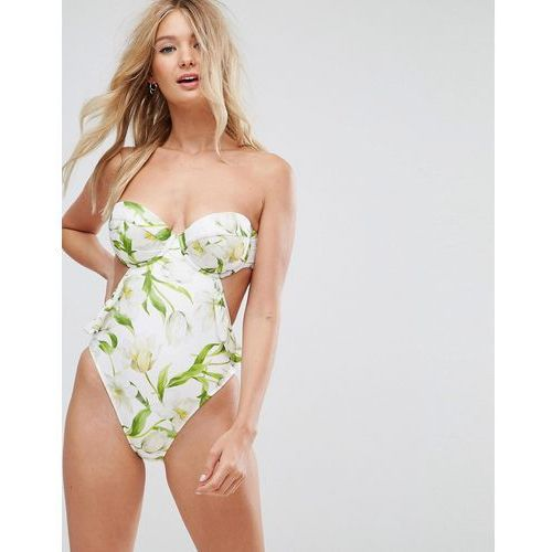 Asos fuller bust riviera floral print cupped frill bandeau swimsuit dd-g - white