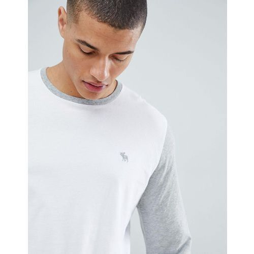 Abercrombie & Fitch icon logo colour block long sleeve top in white/grey - White
