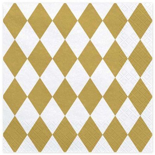Twojestroje.pl Serwetki w romby biało-złote 20szt (5902230750807)