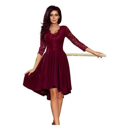 Bordowa Wieczorowa Asymetryczna Sukienka z Koronką, kolor czerwony