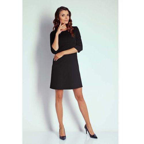 8c2128efd0 Czarna Trapezowa Sukienka Koktajlowa z Rękawem 3 4 109
