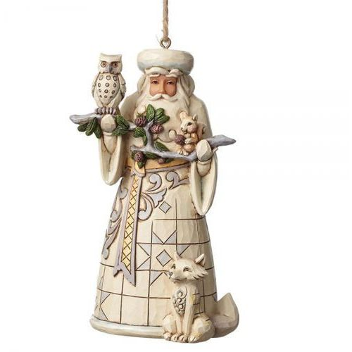 Jim shore Mikołaj zawieszka white woodland santa (hanging ornament) 4050011