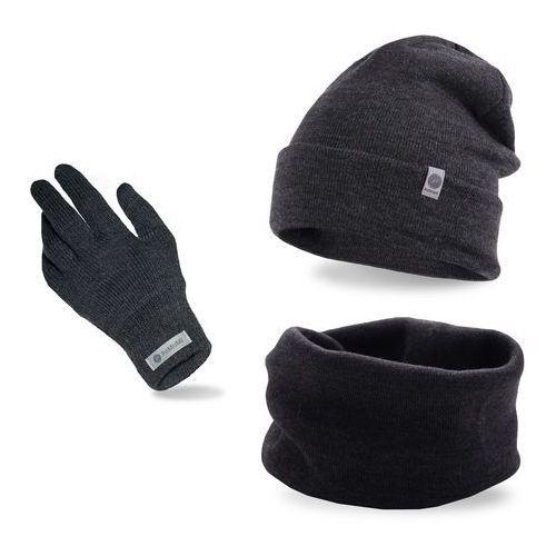 Komplet męski - czapka, komin i rękawiczki - ciemnoszary marki Pamami