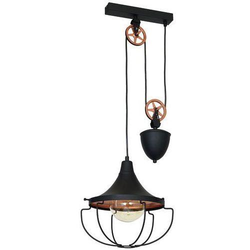 LAMPA wisząca ADX 902G1/S metalowa OPRAWA industrialny ZWIS na bloczku drut loft czarny, kolor Czarny